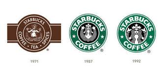 A series of logo iterations to show the changes Starbucks made to their logo.